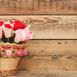 Paper flower in a basket — Stock Photo