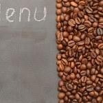 Chalk blackboard and coffee beans — Stock Photo #23068874