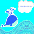 A beautiful card with a cute whale — Stock Vector