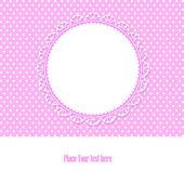 Baby-dusche-karte für mädchen, mit polka dots hintergrund, vec — Stockvektor