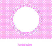 Baby shower card for baby girl, with polka dots background , vec — Vector de stock