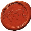 World map sign on wax seal — Stock Photo