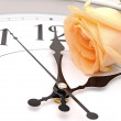 Stock Photo: Roses and wall clock
