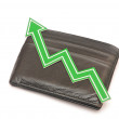Bar graph of growth on black wallet — Stock Photo