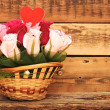 Paper flower in a basket over wooden background. Love concept — Stok fotoğraf