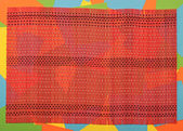 Red bamboo mat for food on colorful background — Stock Photo