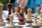 Black knight chess piece on background — Stock Photo