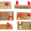 The printed circuit-board with red leds — Stock Photo