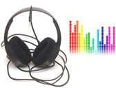 Image of graphic equalizer and head phones, music concept — Stock Photo