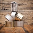 Used tin cans background — Stock Photo #32028973