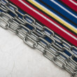 Paper vintage and metal chain border colorful stripe fabric — Stock Photo