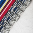 Paper vintage and metal chain border colorful stripe fabric — ストック写真