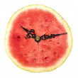 Watermelon clock on a white background — Stockfoto