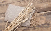 The scattered bag with wheat of a grain on old wooden table — Stock Photo