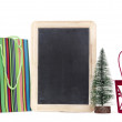 Christmas decoration with blank blackboard for your text and ann — 图库照片
