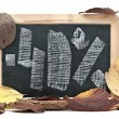 Stock Photo: Autumn discount. Forty percent written on blackboard