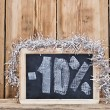 Ten percent written on blackboard — Foto Stock