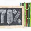 Seventy percent discount written on blackboard with colorful bag — Stock Photo #33309865