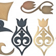 Golden and black collection of carved decorative elements — Stock Photo