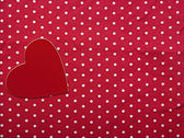 Red heart on polka dot background. — Stock Photo