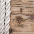 Wood background with rope — Stock Photo