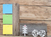 Colorful reminder notes attached on a old wooden signboard with — Stock Photo