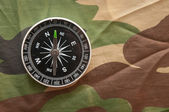 Close-up compass on a camouflage background — Stock Photo