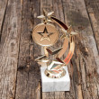 Star award with space for text on old wooden table — Stock Photo
