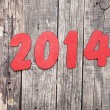 """2014"" number on old wood background — Stock Photo"