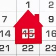 Shape red house on a calendar background — Foto de Stock