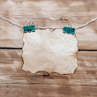 Blank burning paper card hanging on the rope, — Foto Stock