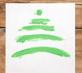 Colorful hand drawing green Christmas tree on white paper — Photo