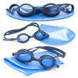 Collection swimming caps and glasses — Stock Photo