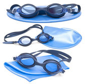 Collection swimming caps and glasses — Stockfoto