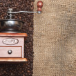Coffee grinder on coffee grains close up — Stock Photo