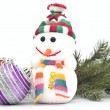 Christmas composition - snowman with branch fir tree and Christm — Stock Photo