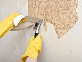Hand removing wallpaper from wall — Stock Photo