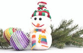 Christmas composition - snowman with branch fir tree and Christm — Foto Stock
