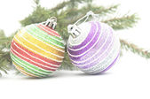 Christmas composition - branch fir tree and Christmas balls — Stockfoto