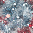 Background from red and blue christmas tinsel — Stok fotoğraf