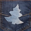 Christmas background: jeans texture with shape Christmas tree. — Photo #37602685