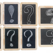 Question and exclamation marks - white chalk drawing on small bl — Foto de Stock