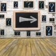 Question marks - white chalk drawing on small blackboard hanging — Stock Photo