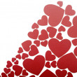 Red hearts background on white — Stock Photo