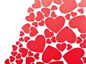 Red hearts background on white with copy space — Stockfoto
