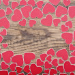 Red hearts background with copy space — Foto de Stock