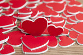 Hearts on a wooden table — Stock Photo