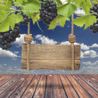 Foto Stock: Wood sign, vineyard with blue sky and wooden floor