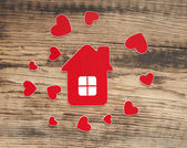 House icon and small hearts. home sweet home — Stock Photo