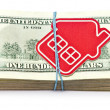 Red home sign on hundred dollar bills. Real Estate business Conc — Stock Photo #42035799